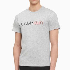 CALVIN KLEIN MENS BOLD ACCENTS GRAY GRAPHIC TSHIRT